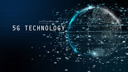 5G and AI technology, Global communication network concept. 3D Illustration. Stok Fotoğraf