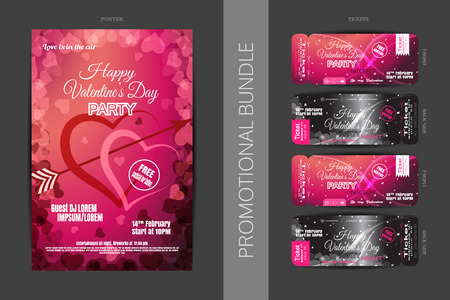 penetrate: Vector Happy Valentines Day night party promotional bundle of gradient red and pink poster and tickets with hearts on the dark gray background.
