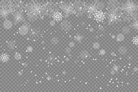 radiance: Vector blank of transparent snowfall with snowflakes and radiance.