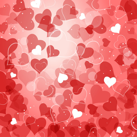 radiance: Vector abstract red background with heart silhouettes and radiance.