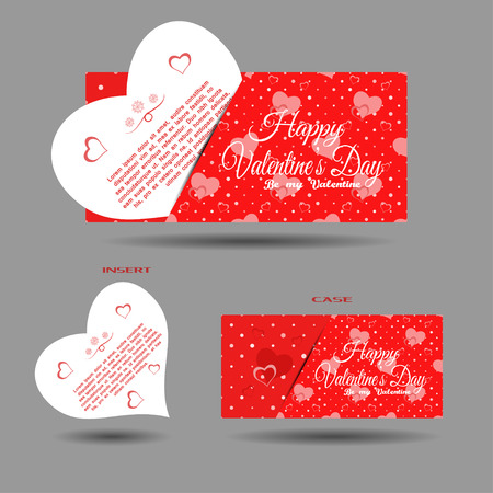 Vector set of greeting card with insert and red pattern on the gray background.