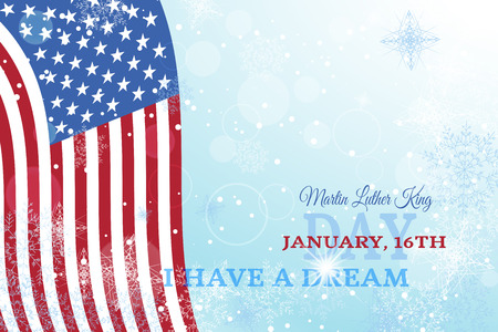 radiance: Holiday vector background of Martin Luther King Day with waving flag, radiance and snowfall.