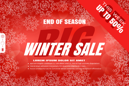 radiance: Vector poster for Big winter sale on the gradient red background with text in the center, snowflakes, radiance. Illustration