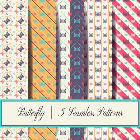 Butterfly - 5 seamless patterns.