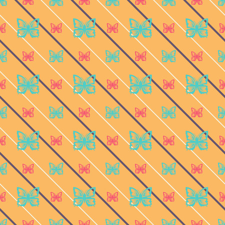 Seamless pattern with butterflies and oblique lines.