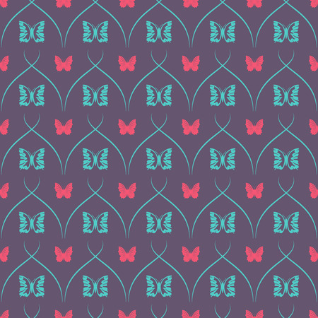 intersects: Dark seamless background with butterflies and oblique thin lines.