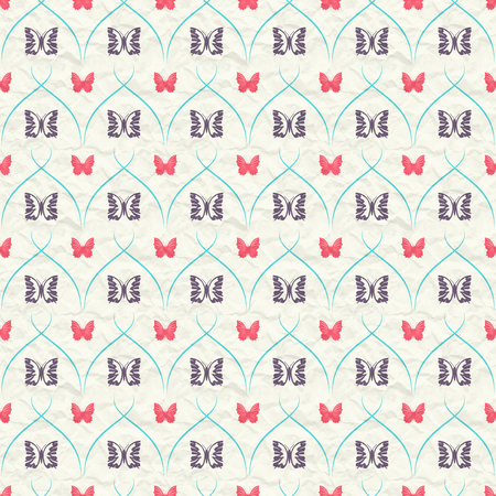 Seamless pattern with red and dark butterflies and turquoise curves stripes on crumpled paper.
