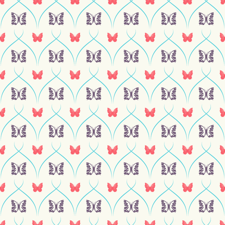 seamless pattern with red and dark butterflies and turquoise curves stripes.
