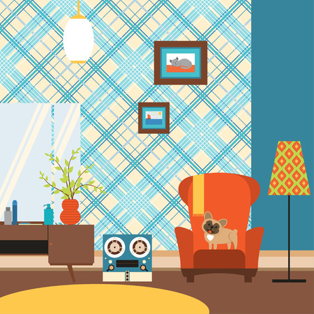 Living room in the style of the 70s