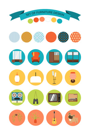 Set of vector icons of furniture and accessories in the style of 70s. Set of icons of the seventies.