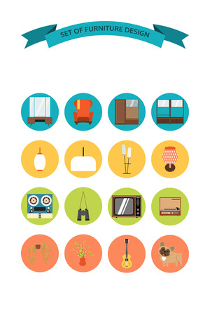 Icons set of furniture and accessories in the style of 70s.