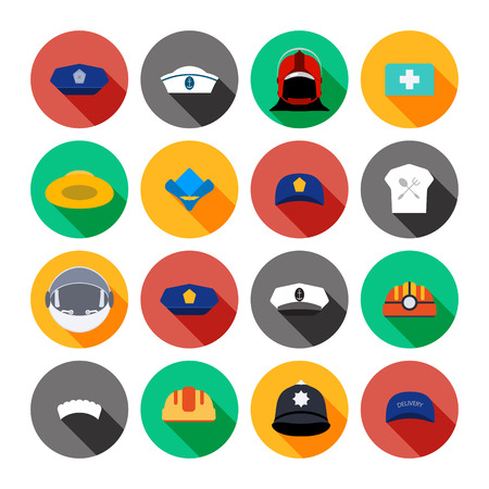 Set of isolated icons of hats different professions. Stock Photo