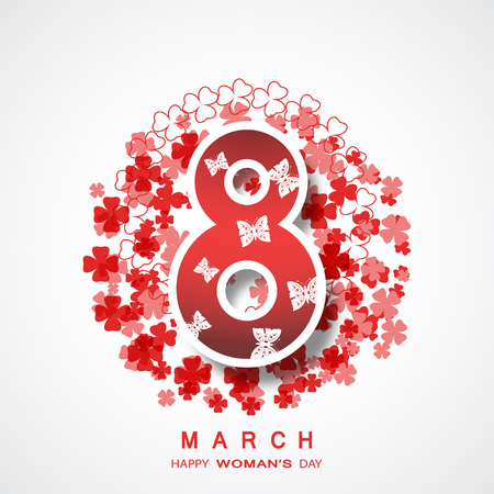 Vector poster for 8 of March Womans Day on the gradient gray background with floral abstract pattern, butterflies and text.