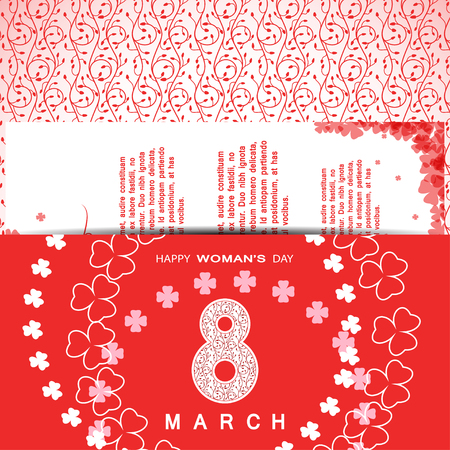 Vector Happy Womans Day envelope on the red   with floral pattern, insert, text and clover leaves arranged in a circle and at corners.