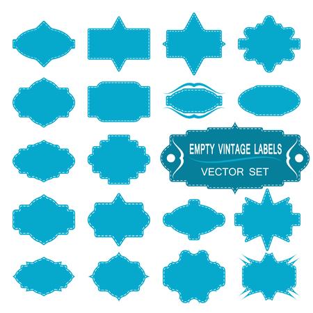 stitching: Empty vintage blue labels vector set. Vector set of empty vintage blue labels with stitching