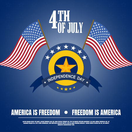 Vector illustration of Independence Day with badge, flags, stripe and star on a dark blue background. Vector illustration of Independence Day - America is freedom, happy celebration. Illustration