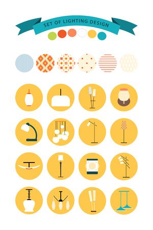 Vector set of lighting design. Set of home lighting elements