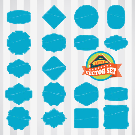 stitching: Vector set of empty vintage blue labels with pocket and stitching.