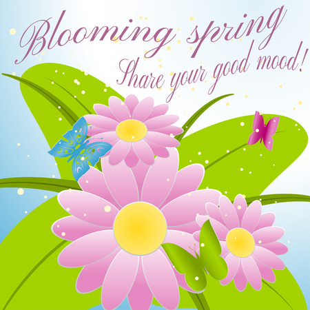 Blooming spring. Share your good mood! Vector illustration of flowers and butterflies. Illustration