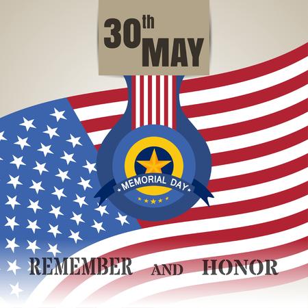 30th: 30th may - Memorial Day flat vector illustration. Remember and Honor 30th May vector. Illustration