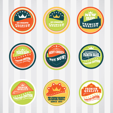 stitching: Vintage labels for commerce and premium trade vector set with stitching. Retro badges vector set for internet commerce with stitching. Vector set of labels for promotion premium goods.