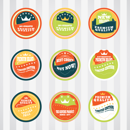 stitching: Vintage labels for commerce and premium trade with stitching vector set in pockets. Retro badges vector set for internet commerce with stitching in pockets. Vector set of labels for promotion premium goods.