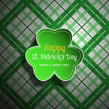 Vector Happy St. Patricks Day poster on the white and green line pattern background, leaf of clover shape cut from paper, shadow, text. Illustration