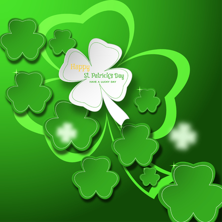 Vector abstract gradient green background for Happy St. Patricks Day with leaves of clover shapes and glowing silhouette.