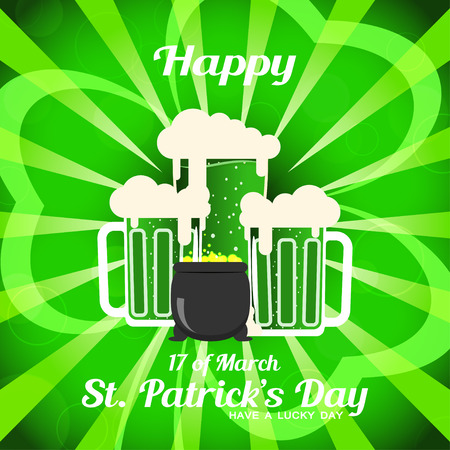 Vector Happy St. Patricks Day poster on the gradient dark green background with rays, leaf of clover silhouette, goblets of beer and cauldron with coins.