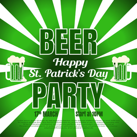 Vector Beer party poster for Happy St. Patricks Day on the gradient dark green background with rays, goblets of beer and text.