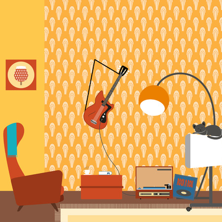 Illustration of a living room interior with armchair, TV, guitar in the style of 70s.