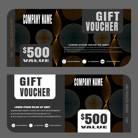 Blank of gift voucher vector illustration to increase sales on dark background.