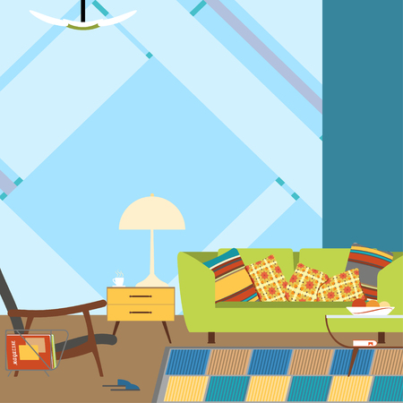 Living room interior with green sofa and armchair in the style of 70s vector illustration.