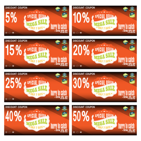 abatement: Vector set of coupons for promoting sales with labels and various discounts. Illustration