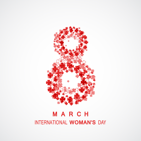 Vector poster for 8 of March - International Womans Day on the gradient gray background with floral abstract pattern and text. Illustration