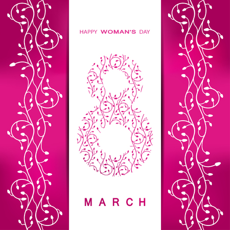 pocket size: 8 of March Womans Day vector envelope on the gradient pink background with white floral pattern, pocket, text and shadow. Illustration