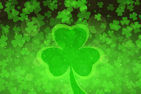 Vector abstract wide gradient green background for Happy St. Patricks Day with leaves of clover pattern and silhouettes. Illustration
