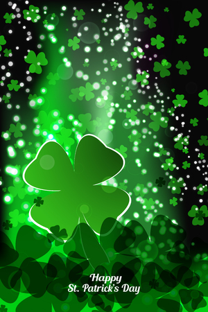 Vector Happy St. Patricks Day poster on the gradient dark green background with leaves of clover, shapes and stars.