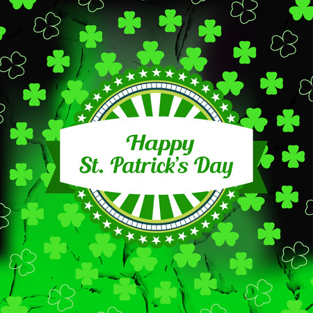 Vector Happy St. Patricks Day poster on the gradient dark green background with cracks, vintage label, leaf of clover silhouette arranged in a circle. Illustration
