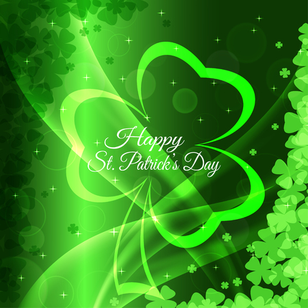 Vector abstract gradient green background for Happy St. Patricks Day with leaves of clover pattern, waves and glowing silhouette.