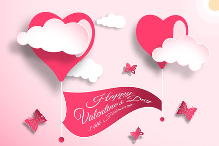 Vector greeting card of Happy Valentines Day with light red background, sun, clouds, heart shapes, flag and butterflies cuted from paper.