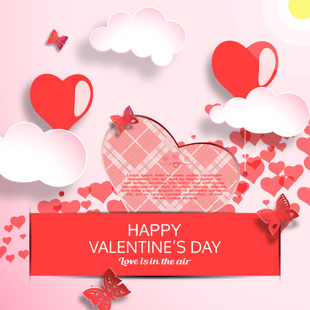 Vector greeting card of Happy Valentines Day with gradient light red background, sun, clouds, heart shape with line pattern insert in pocket and butterflies cuted from paper. Illustration