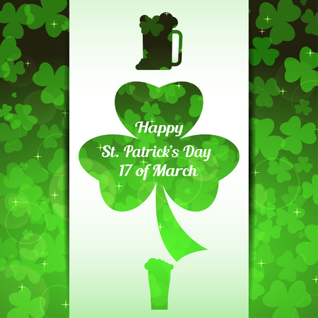 Vector abstract gradient green background for Happy St. Patricks Day with white stripe, leaves of clover pattern and cutout silhouette of goblets of beer. Illustration