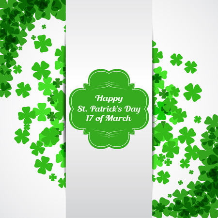 Vector Happy St. Patricks Day card on the white background with green label, shadow, white stripe, text and clover leaves arranged in a circle and at corners.