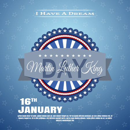 jr: Vector holiday background of Martin Luther King Day with label. Illustration