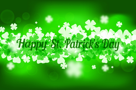 Vector abstract gradient green background to Happy St. Patricks Day with leaves of clover and glow on center.