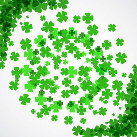 Vector Happy St. Patricks Day poster on the white background with clover leaves arranged in a circle and at corners. Illustration