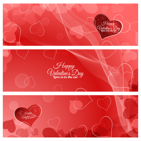 Vector set of greeting bookmarks for Valentines Day on the abstract red background with hearts, radiance, waves. Illustration