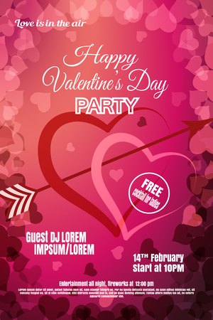Vector Happy Valentines Day night party poster on the gradient red and dark pink background with hearts.