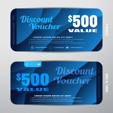 Vector discount voucher on the dark blue gradient background with waves.